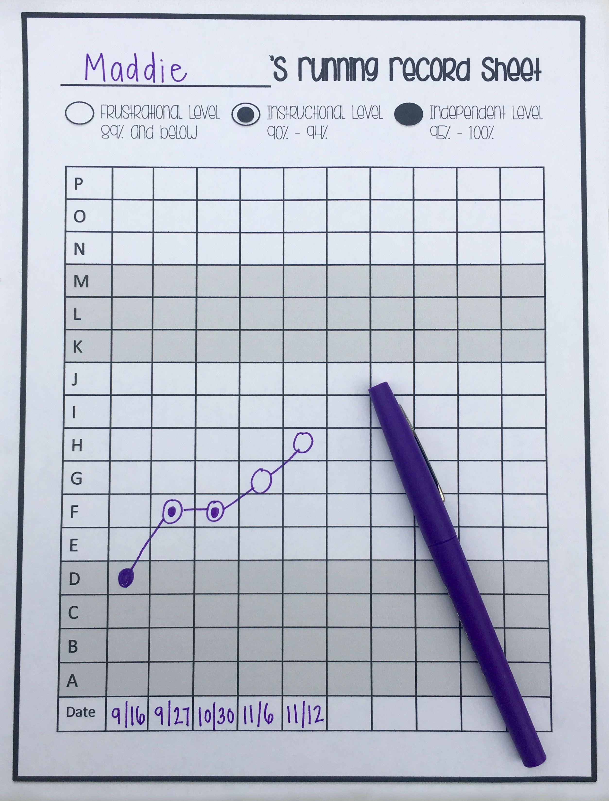 Free Running Record Tracking Sheet