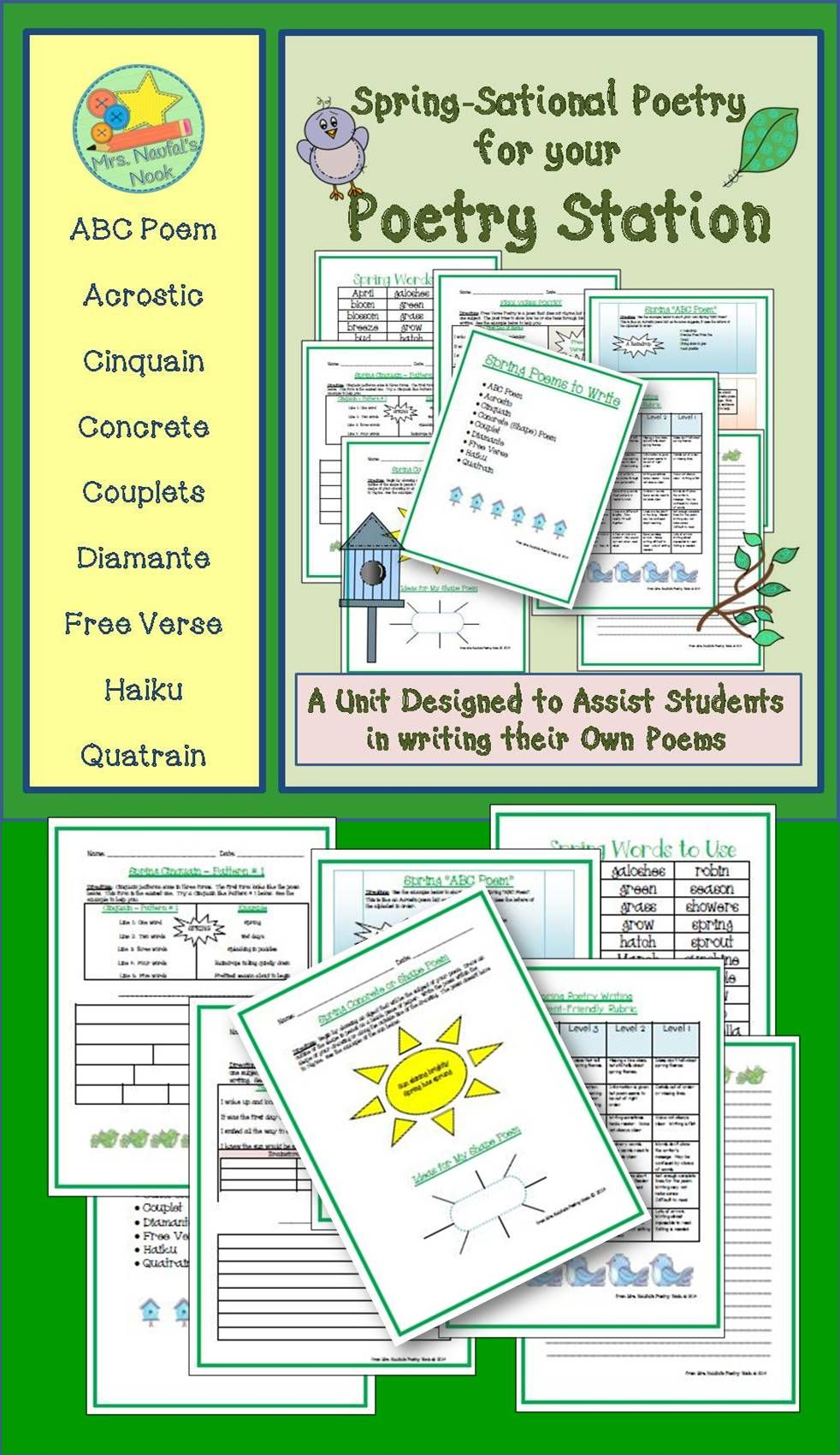 Spring Poetry Writing Graphic Organizers Rubric And Task Cards Includes Specialty Paper Word Lis Writing Prompts Poetry Writing Poetry Spring Poetry Writing [ 1700 x 982 Pixel ]