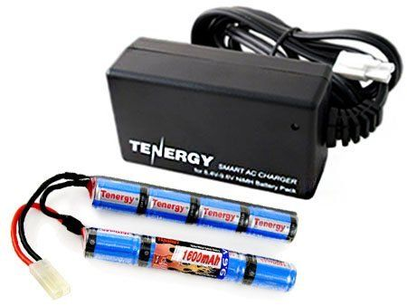 Combo: Tenergy 9.6V 1600mAh Butterfly Mini NiMH Battery Pack + 8.4V-9.6V NiMH Smart Charger by Tenergy. $34.24. Tenergy 9.6V 1600mah Butterfly Battery The most popular Airsoft Battery brand for Airsoft - Reliable Runtime & Rate of Fire  Features and Benefits:  -Product: 9.6V 1600mAh NiMH Butterfly Battery Pack -Twice longer firing time than a NiCd Battery -Longer runtime than your basic Stock battery that comes with your gun -Make: made of 2/3A x 8 cells 1600mAh NiMH -Conn...