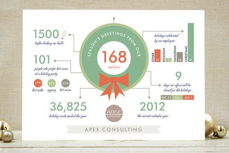 Holiday infographics business holiday cards by frooted design available through orpheus photography