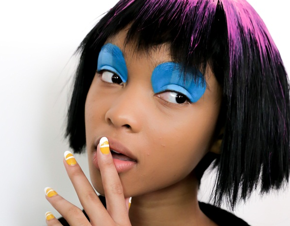 A colorful variation of the French Manicure at Jeremy Scott #NYFW F/W  #2015 #fashion #runway #nails #jeremyscott