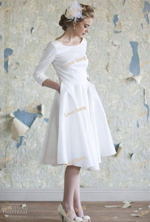 Free shipping hot selling scoop full cap sleeve three for Wedding dresses with three quarter length sleeves