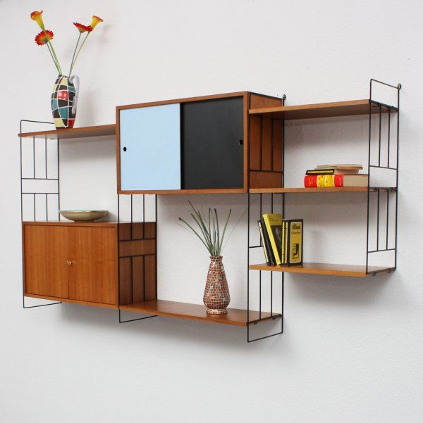 wandregalsystem mit 2 containern mid century interior. Black Bedroom Furniture Sets. Home Design Ideas