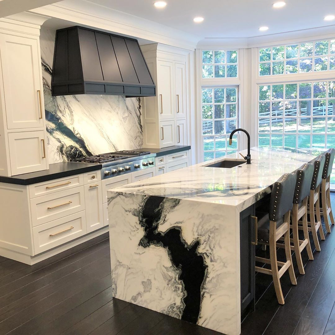 Panda White Marble For Backsplash And Waterfall Countertops Black Cabinets For Island And White Everywhere Els Kitchen Remodel Home Decor Waterfall Countertop