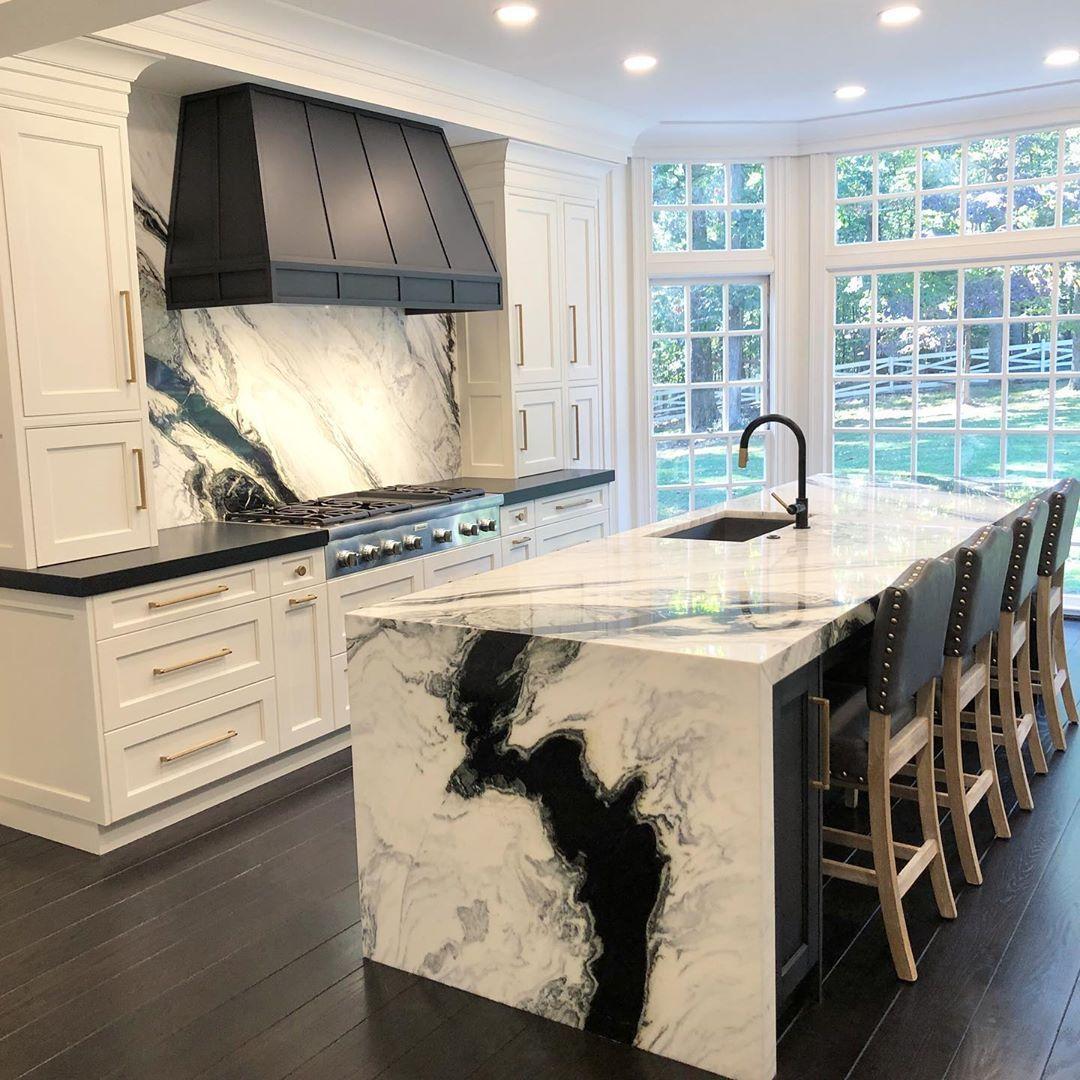 Download Wallpaper Panda White Marble Kitchen