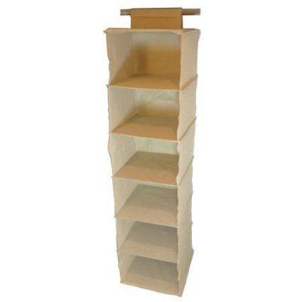 6 Shelf Hanging Canvas Wardrobe Storage Unit Clothes Sweater Shoe Organiser  U0026 Spacesaver   Cream: