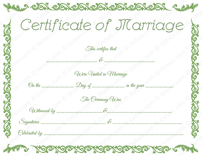 Printable Marriage Certificate Dotx In 2020 Marriage Certificate Wedding Certificate Certificate Templates
