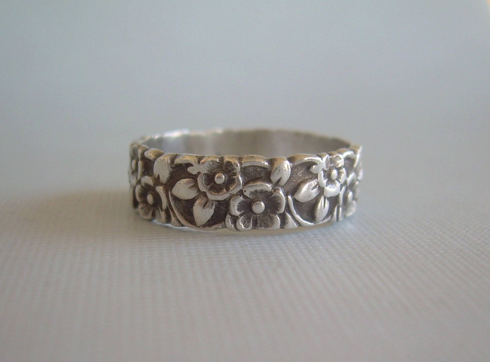 Victorian Flowers Ring Size 9Vintage Antique Sterling