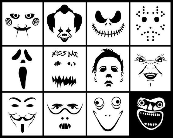Halloween Horror Movie Faces Svg Dxf Pack Digital Download 12 Horror Movie Masks Svg Horror Crafts Halloween Horror Movies Halloween Pumpkins Carvings
