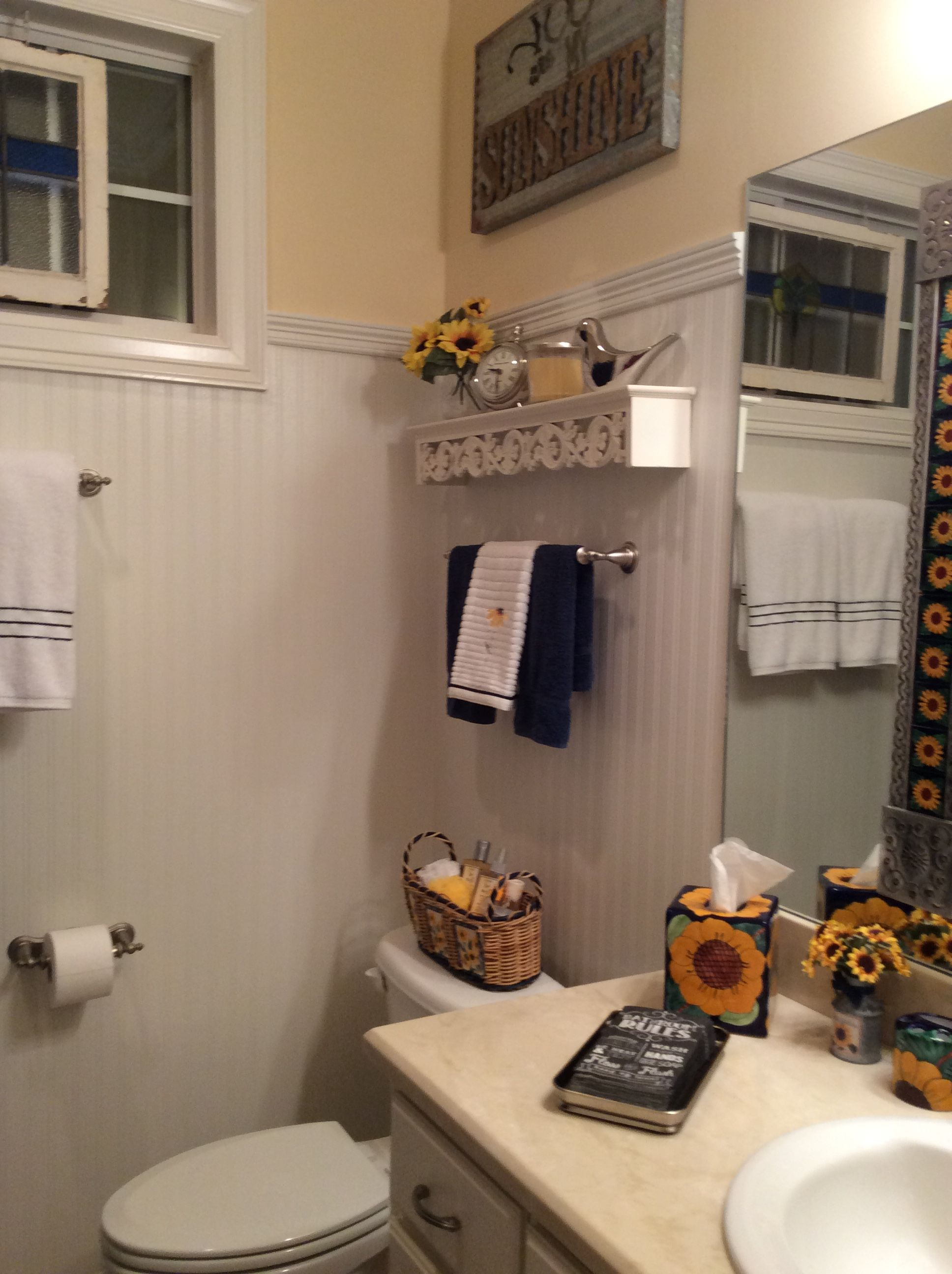 Sunflower bathroom bead board wallpaper makeover! | DIY | Pinterest ...