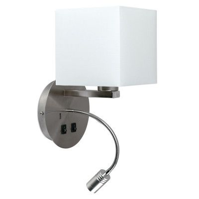 Solara Satin Nickel Wall Light With White Shade And Usb