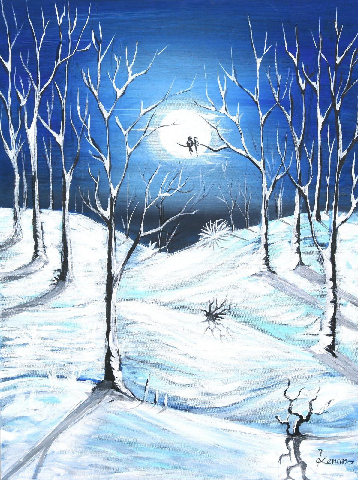 winter night 2014, Acrylic painting by kenan tuncay   Artfinder