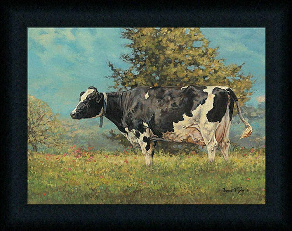 Bonnie Mohr Living Life Quote Babe Bonnie Mohr 12X16 Meadow Cow Painting Framed Art Print