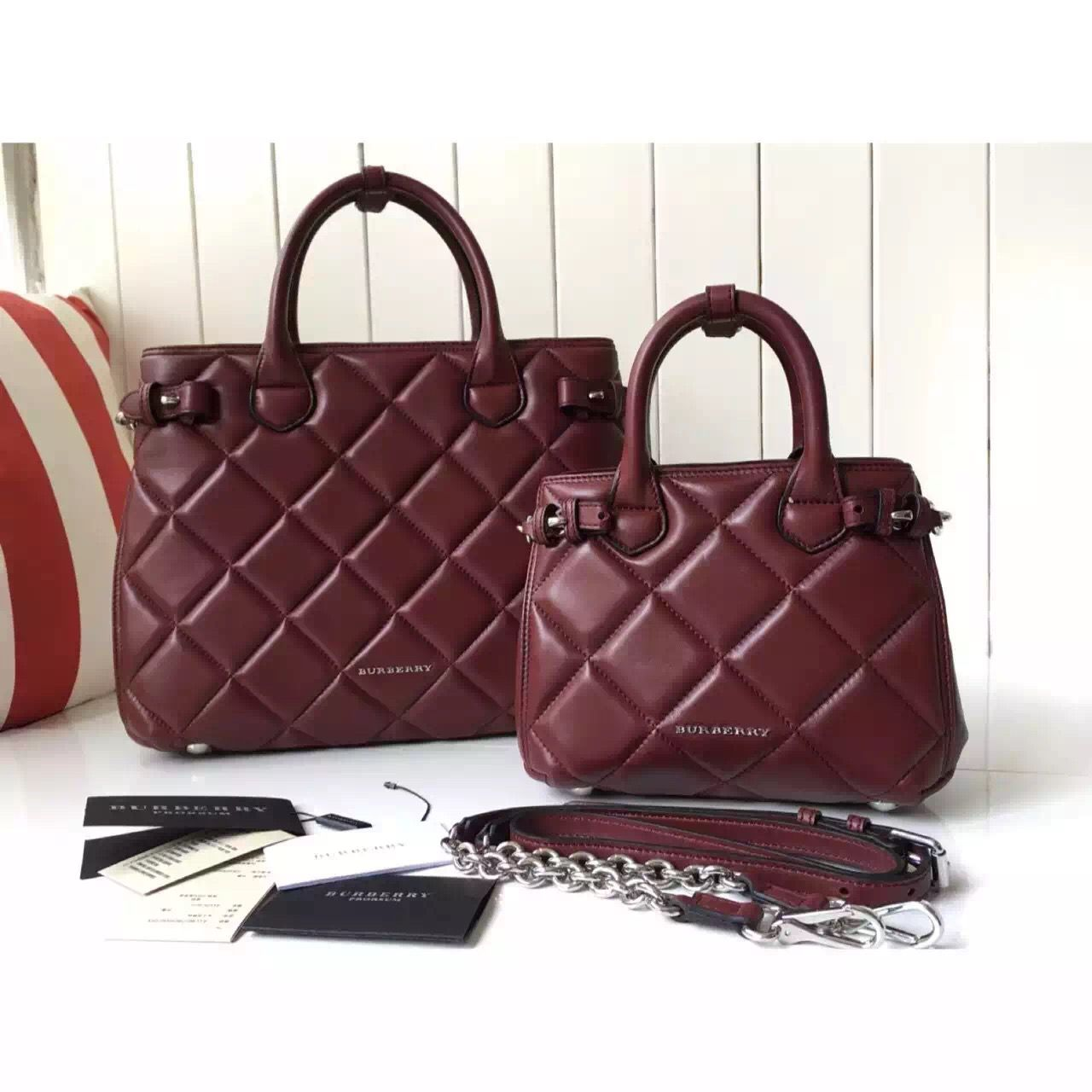 popular brand great variety models elegant shoes Burberry Baby/Medium Banner Bag In Burgundy Quilted Lambskin ...