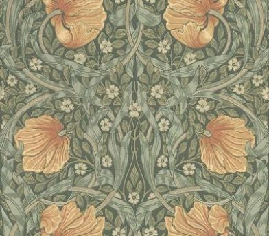Pimpernel (210388) - Morris Wallpapers - A stunningly beautiful classic Morris style floral trellis with circular shapes and a strong symmetrical pattern within the leaves. Shown with peach flowers on a blue green - available in other colours. Please request sample for true colour match.