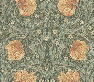 Pimpernel by Morris Peach / Blue / Green Wallpaper