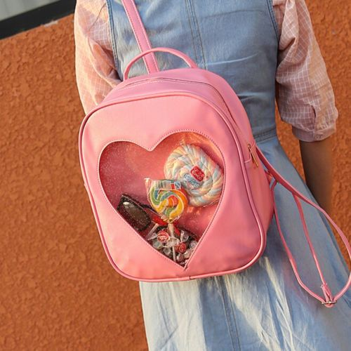 Style-Women-Transparent-Heart-Shaped-Backpack-Schoolbag-Travel-Hiking-Bags-abus