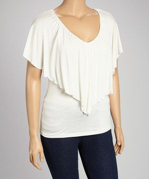 Another great find on #zulily! White Flounce V-Neck Top - Plus by Poliana Plus #zulilyfinds