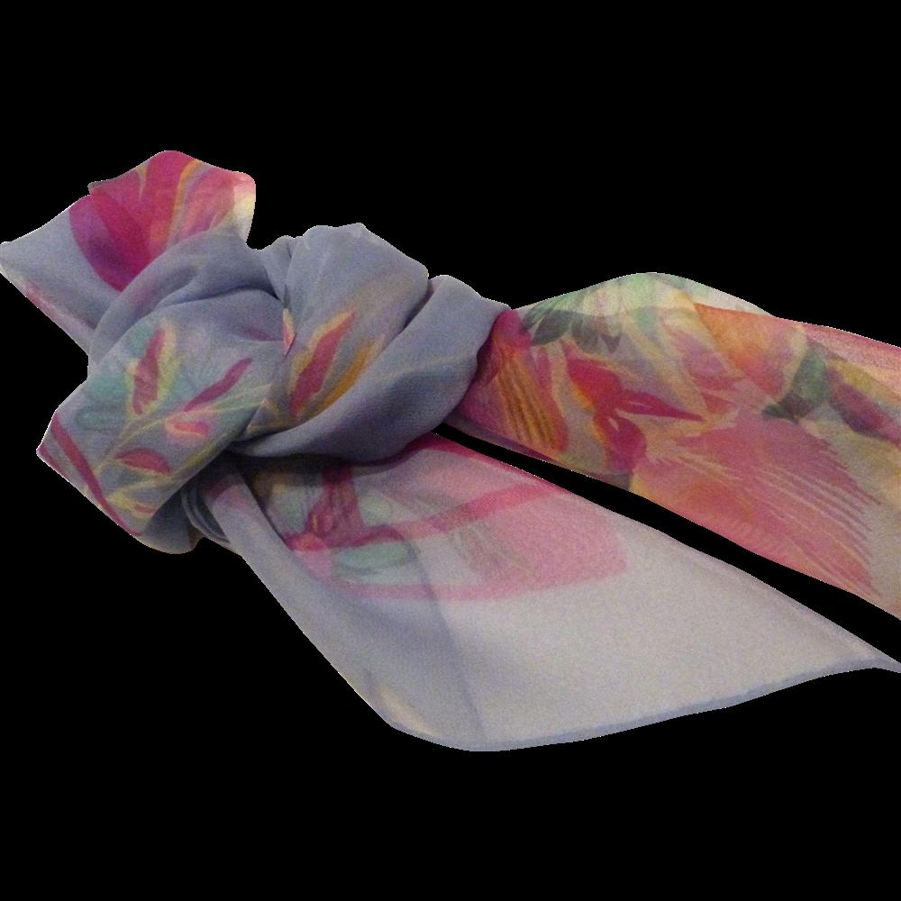 046caec4dd Vintage Cacharel Silk Chiffon Scarf | Vintage Scarves | Chiffon ...