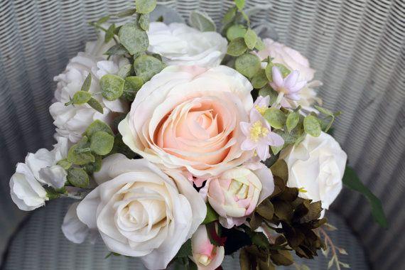 Bridesmaid bouquet / wedding posy / custom order / pale blush pink and ivory wedding flowers