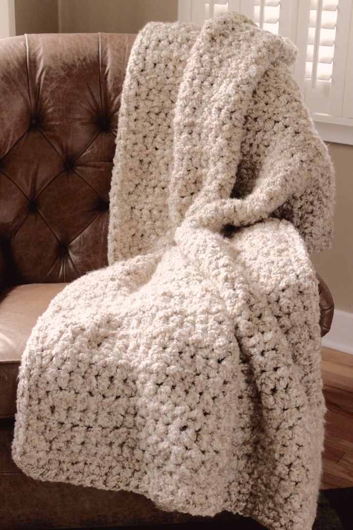 Super chunky, seven pound crocheted blanket in Homespun Thick ...
