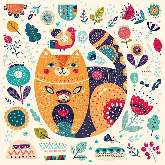 Amazing Art Print with beautiful CAT and floral elements. Fine art PRINT. Beautiful print for living room, bedroom. Unframed. Please choose size and print media from order list. This Listing is for PRINT on PAPER or CANVAS (select at checkout). Art Prints are printed on poster paper 180 gr.
