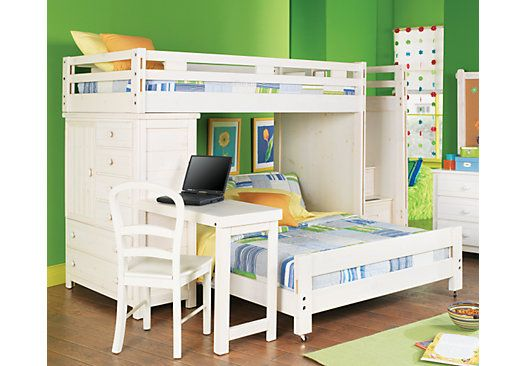 Shop For A Creekside White Wash Twin Full Step Bunk Bedroom W Chest Desk At Rooms To Go Kids Find That Will Look Great In Your Ho Kids Bunk Beds