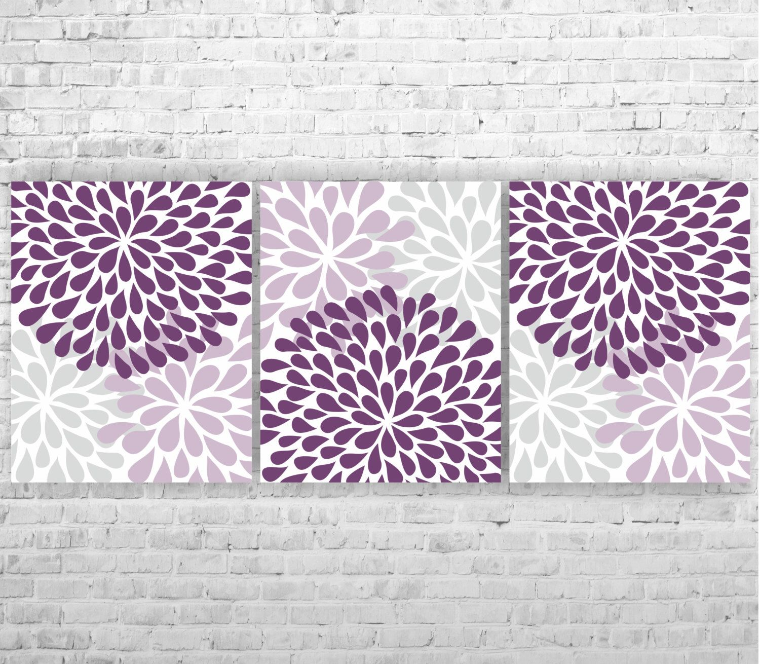 purple gray flower burst floral bloom artwork set of 3 8x10 prints