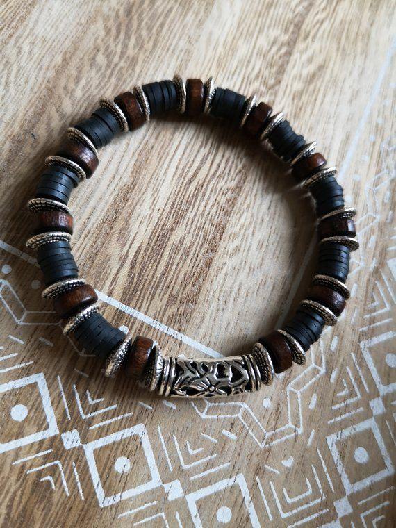 Elastic Elastic Wood ManBlackBrownSilverPearlCoconut Bracelet Bracelet yfY7g6vb