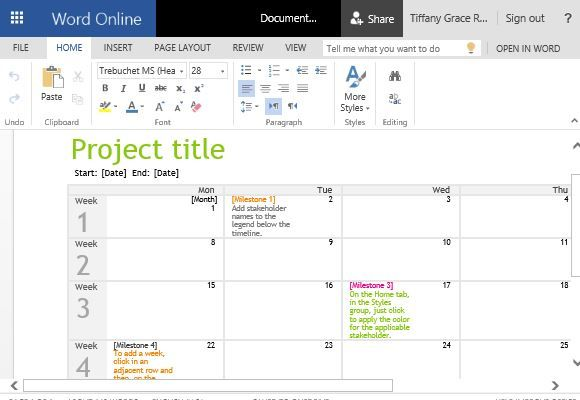 Project Timeline Calendar Template for Word Word Templates - calendar timeline template