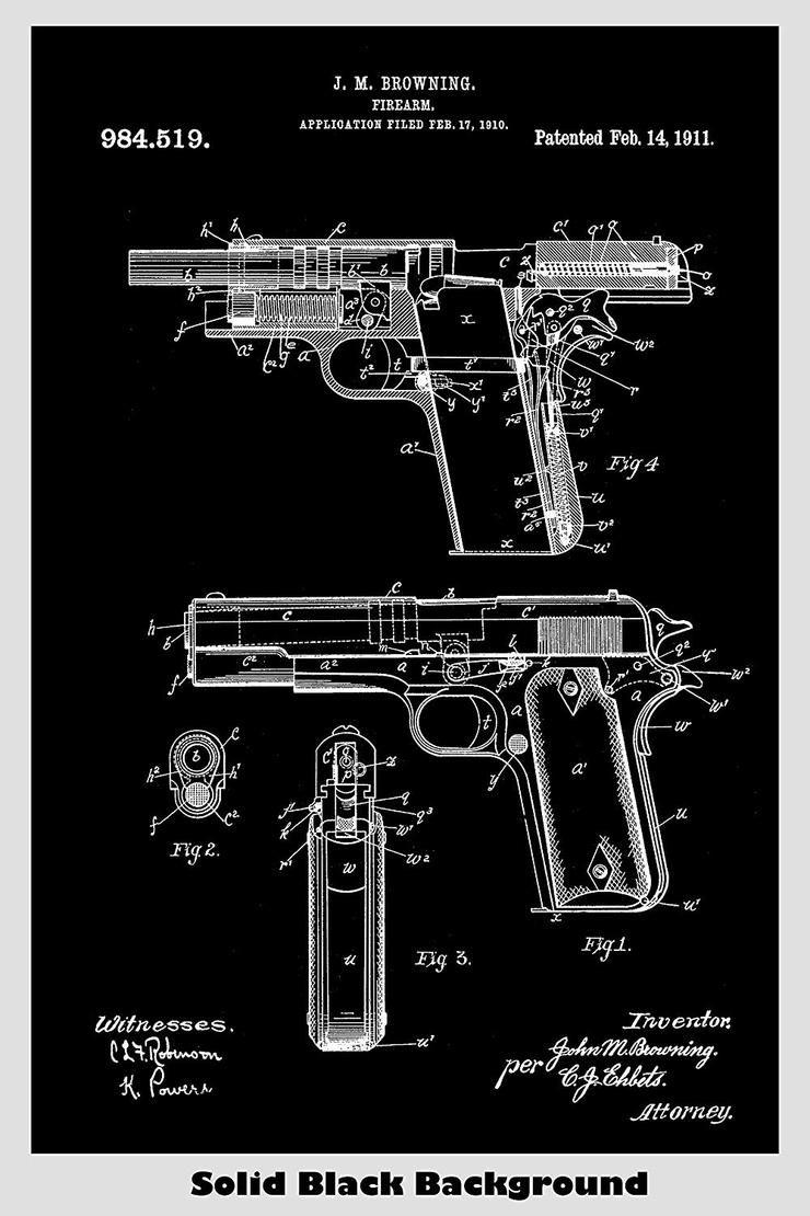 Browning Gun Patent Art Print Man Cave Decor Browning Firearm 1911 Blueprint