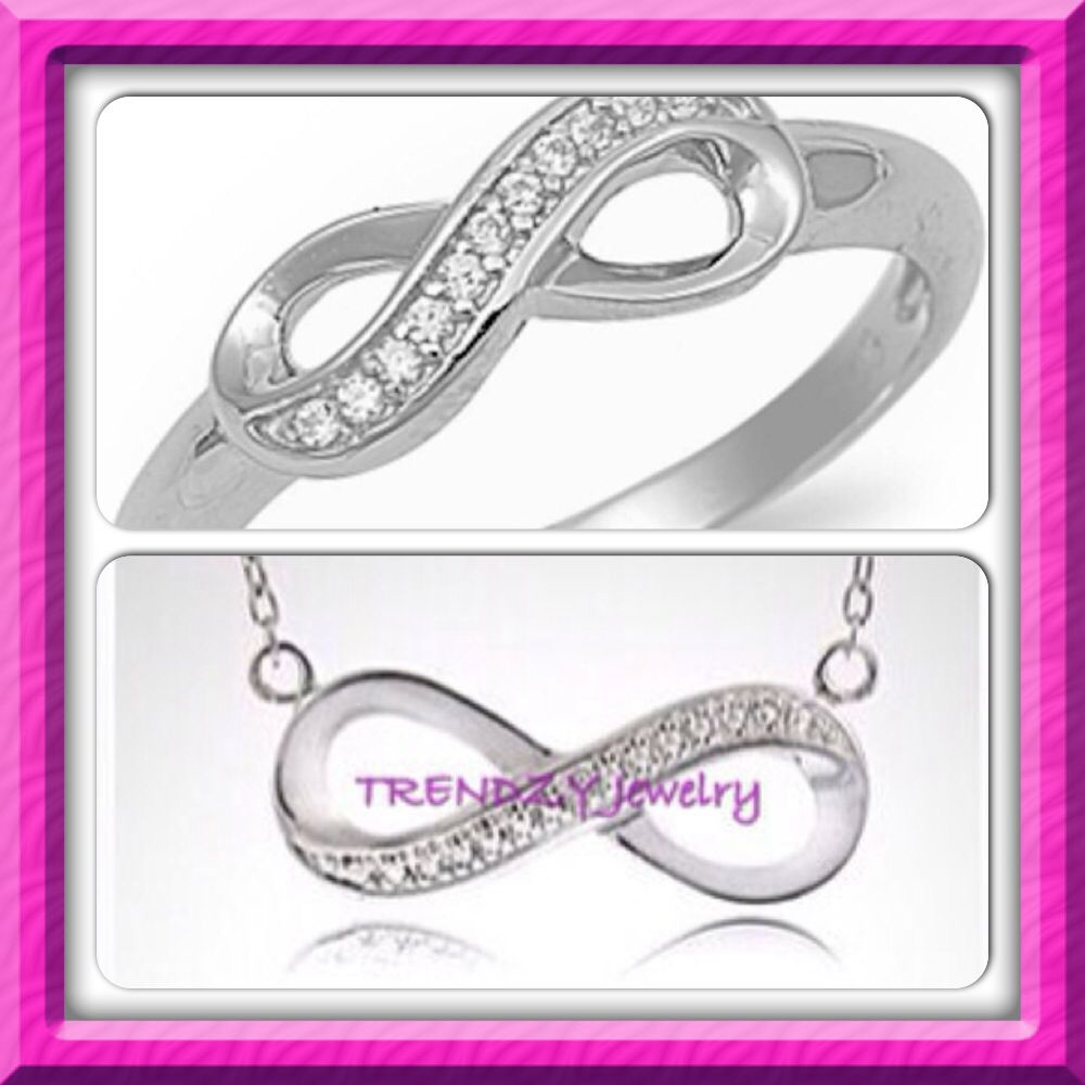 """Forever"" Infinity Necklace & Ring Set Pure .925 Sterling Silver TRENDZY Jewelry 2014"