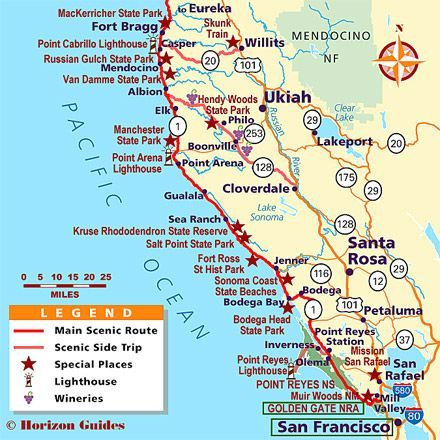 Highway 101 California Map.California Coast Vacation Travel Guide Hotels Maps Photos