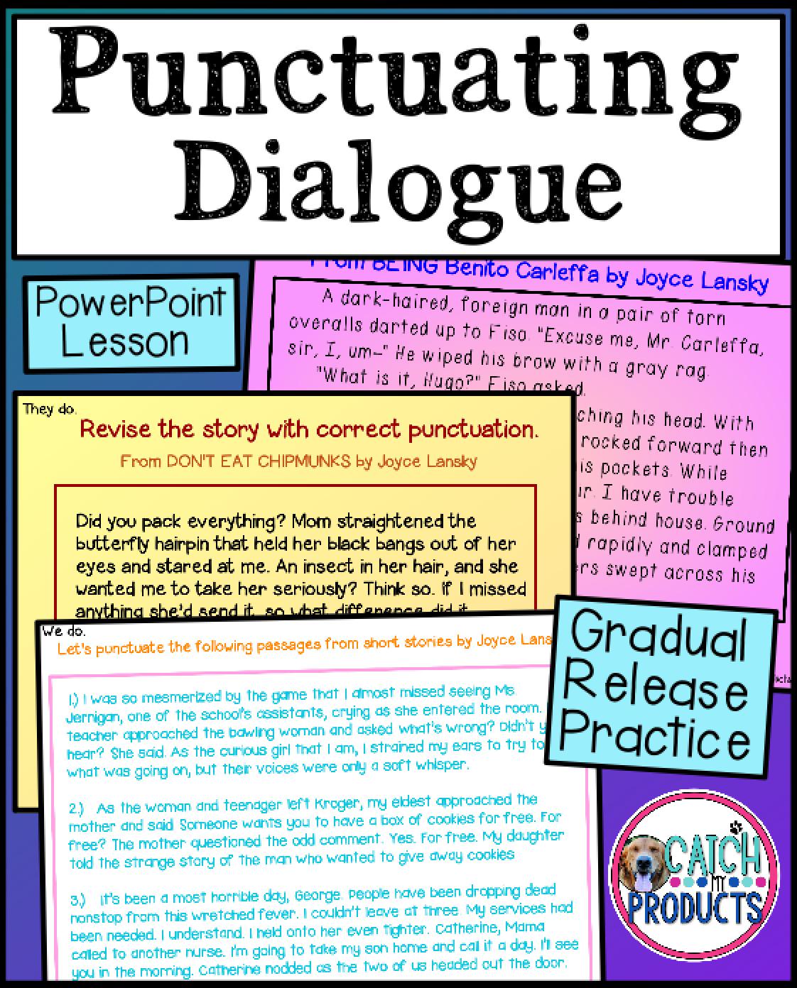 Punctuating Dialogue Worksheet \u0026 PowerPoint   Teaching writing elementary [ 1392 x 1122 Pixel ]