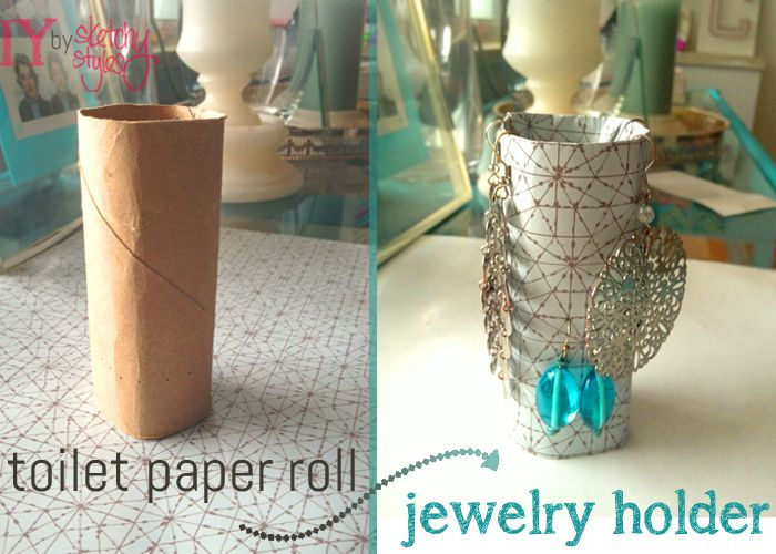 Take a simple toilet paper roll and transform it into an earring