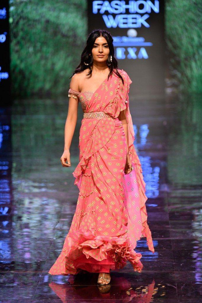 Photo of Pink gold printed wedding saree Arpita Mehta