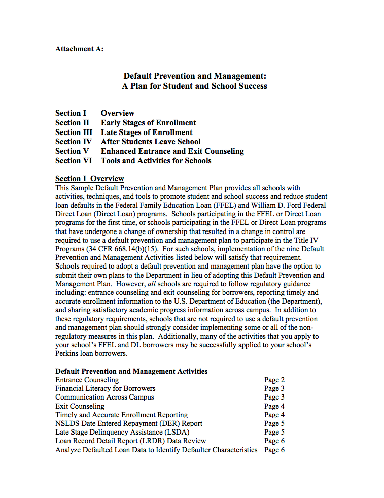 The U.S. Department of Education's Sample Default