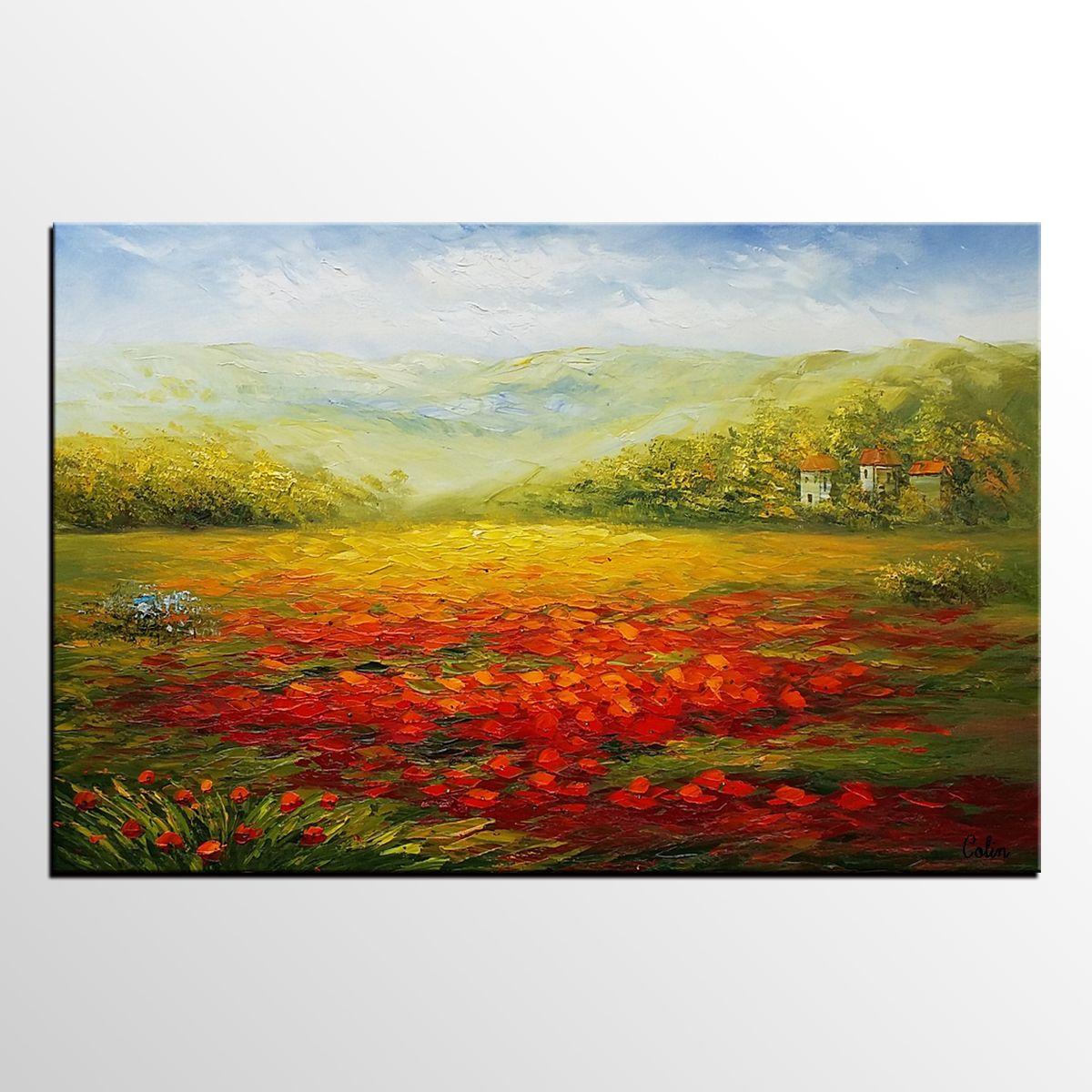 Poppy Field Painting, Landscape Painting, Large Art, Canvas Art ...