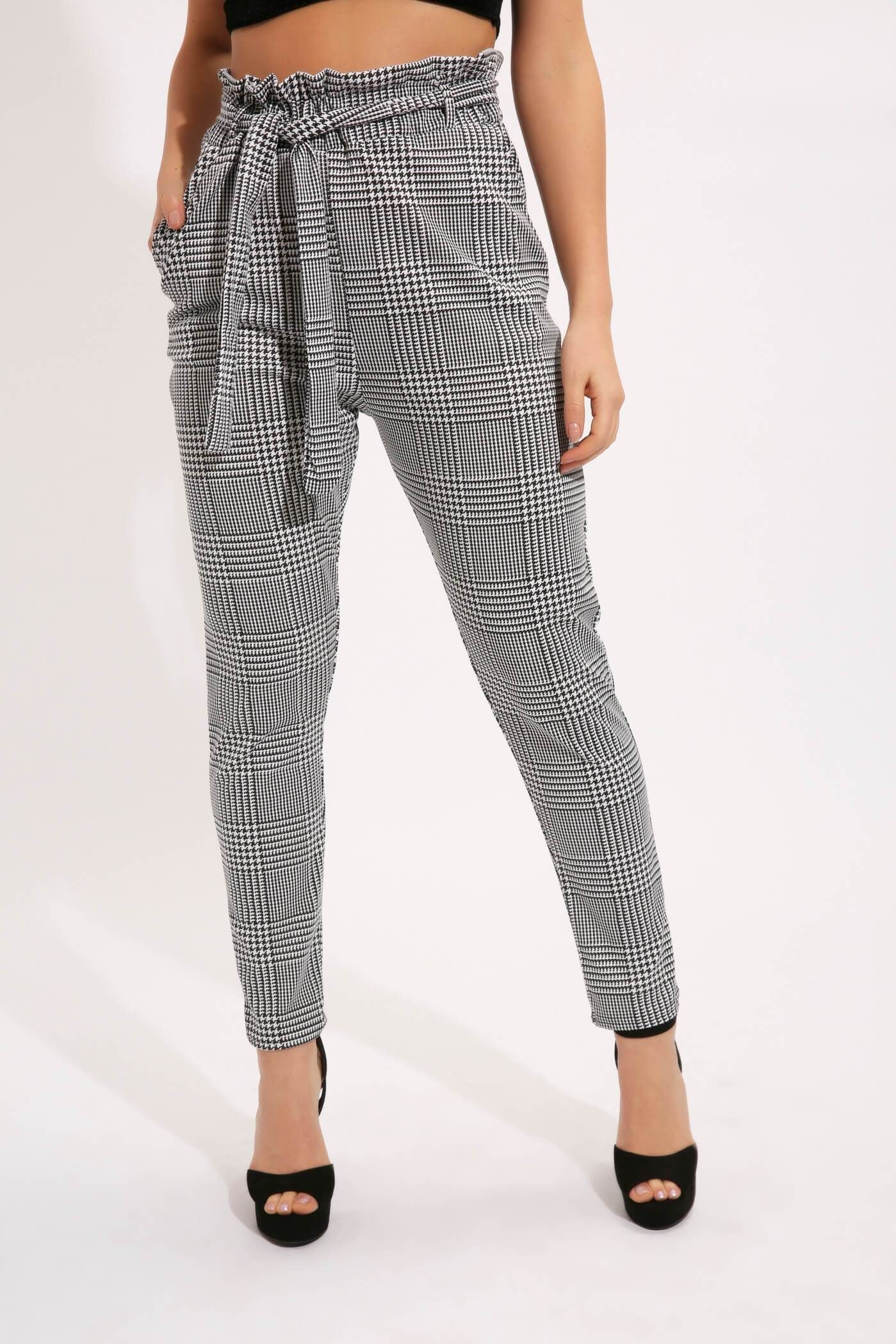 3f9caba052c04a Black/white check tie waist paper bag trousers | Products | Tie ...
