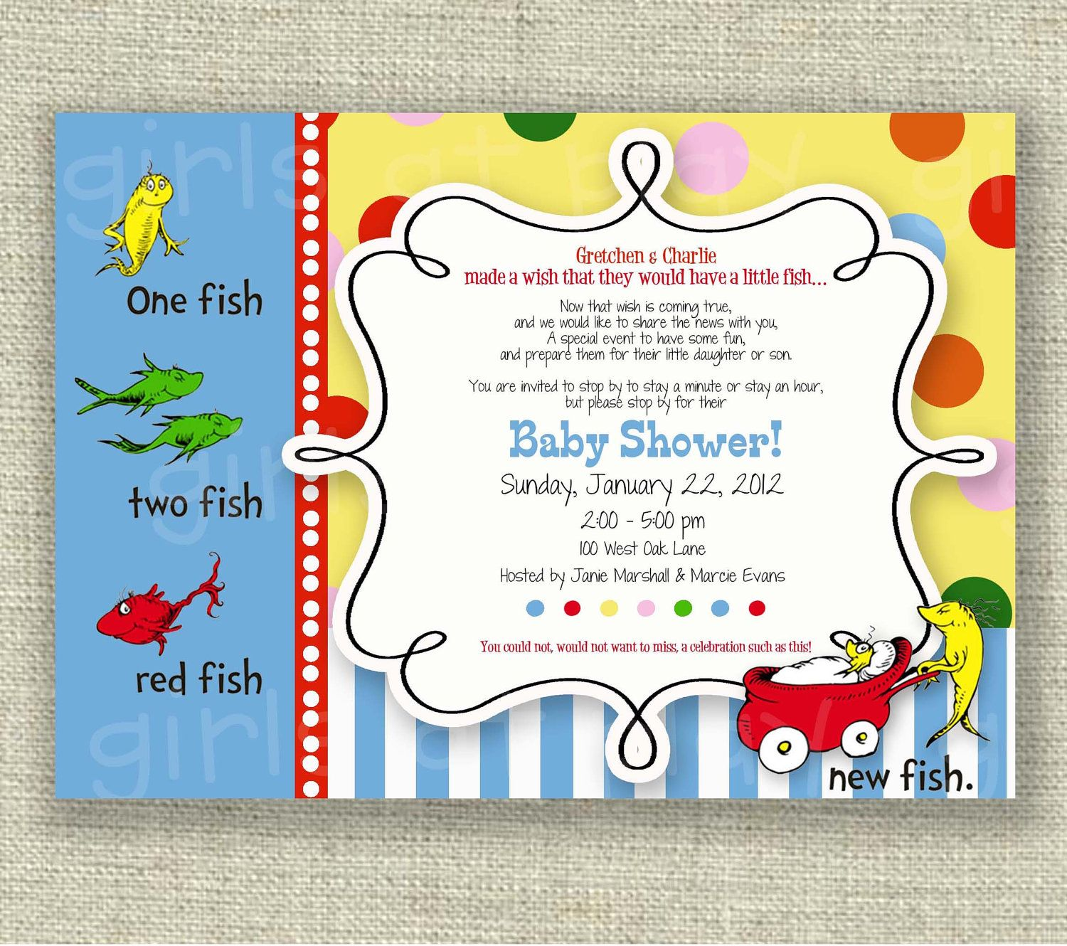Dr Seuss Baby Shower Invitation One Fish Two Fish Boy Or Girl Printable    By Girlsatplay Girls At Play