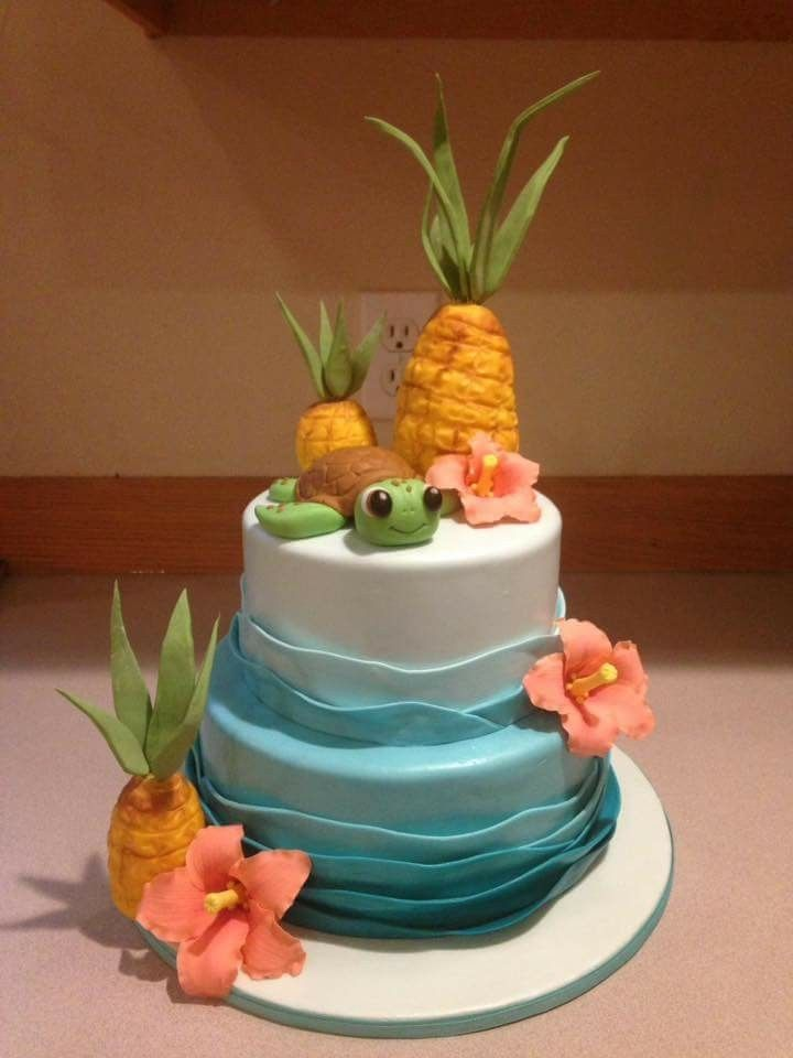Pleasant A Sweet Hawaiian Themed First Birthday Cake Luau Party Cakes Funny Birthday Cards Online Overcheapnameinfo