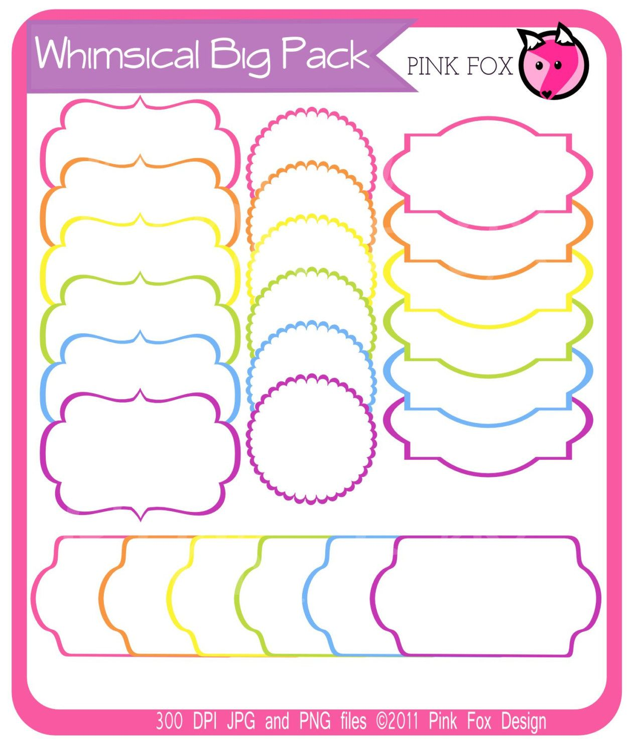 Whimsical label big pack - tag clipart - printable labels ...