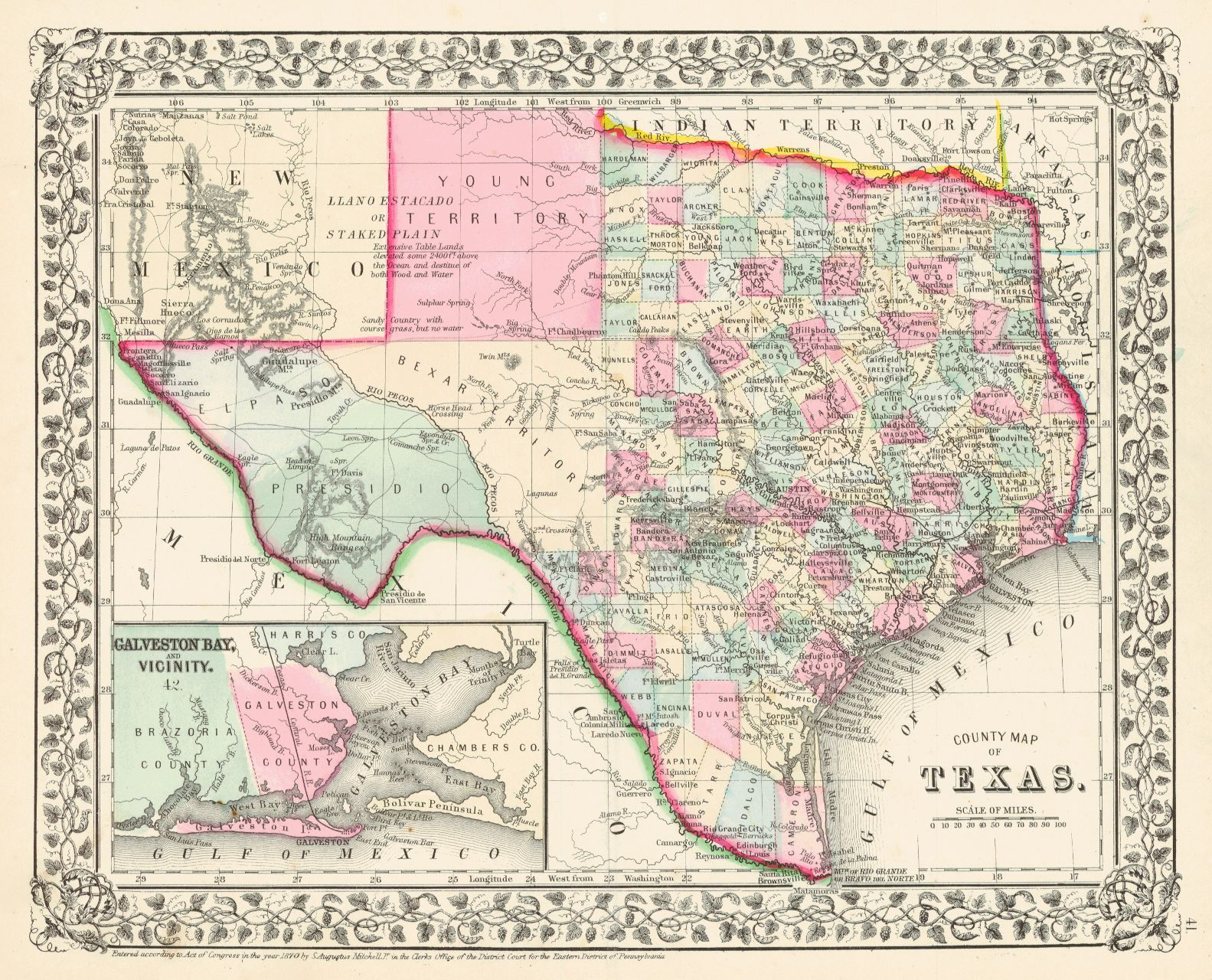 Detail Map Of Texas.County Map Of Texas S Aug Mitchell Jr 1870 Inset Of Galveston