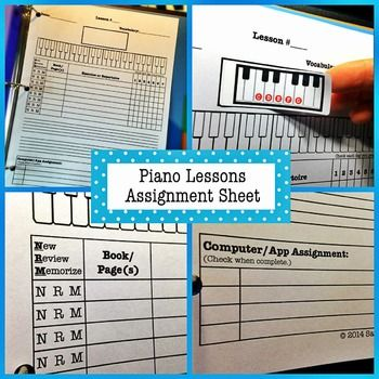 Piano Lessons Assignment Sheet Assignment Sheet Piano Lessons