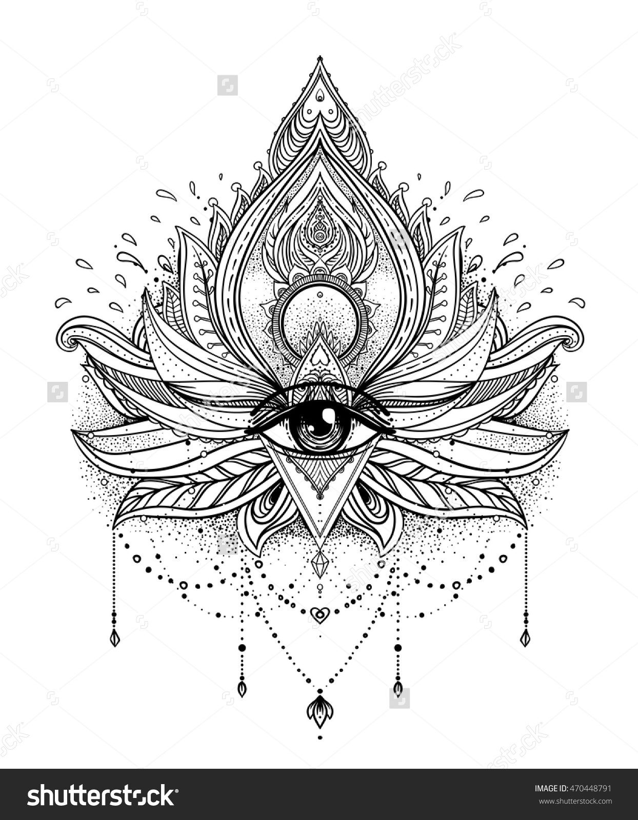 Hand Drawn Illustration Invitation Element Tattoo Astrology Alchemy Boho And Magic Symbol Coloring Book For Adults Vector Ornamental Lotus Flower