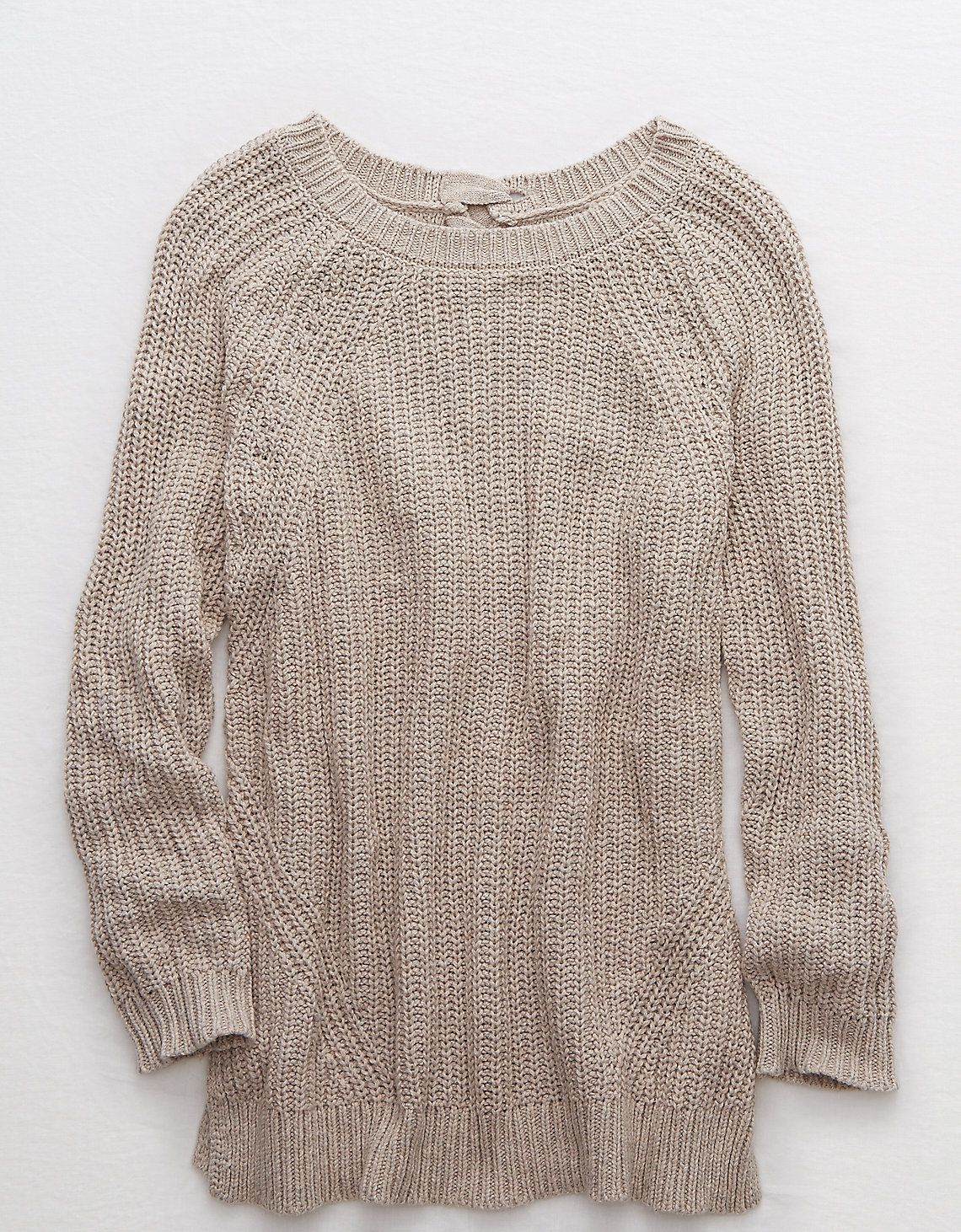 Aerie Lace-Up Tunic Sweater | Heather brown, American eagle ...
