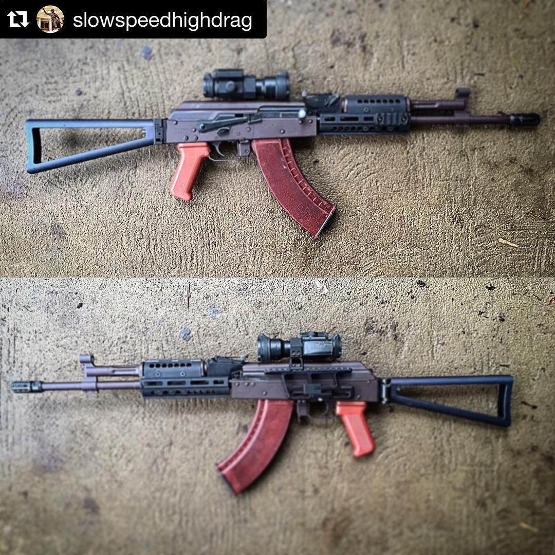@slowspeedhighdrag With A Modern Plum Banger. AK 303 Lower With AKM Upper  Holding A Vortex Stirefire. Cool Bulgarian Pink Grip And Manticore Triangle  Stock ...