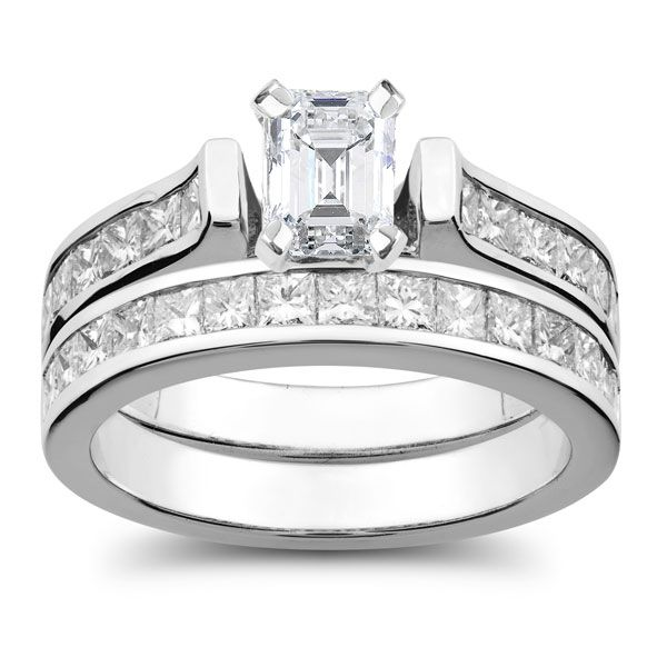 Stunning.  Diamond Wedding Set with Emerald Cut Diamond center stone.