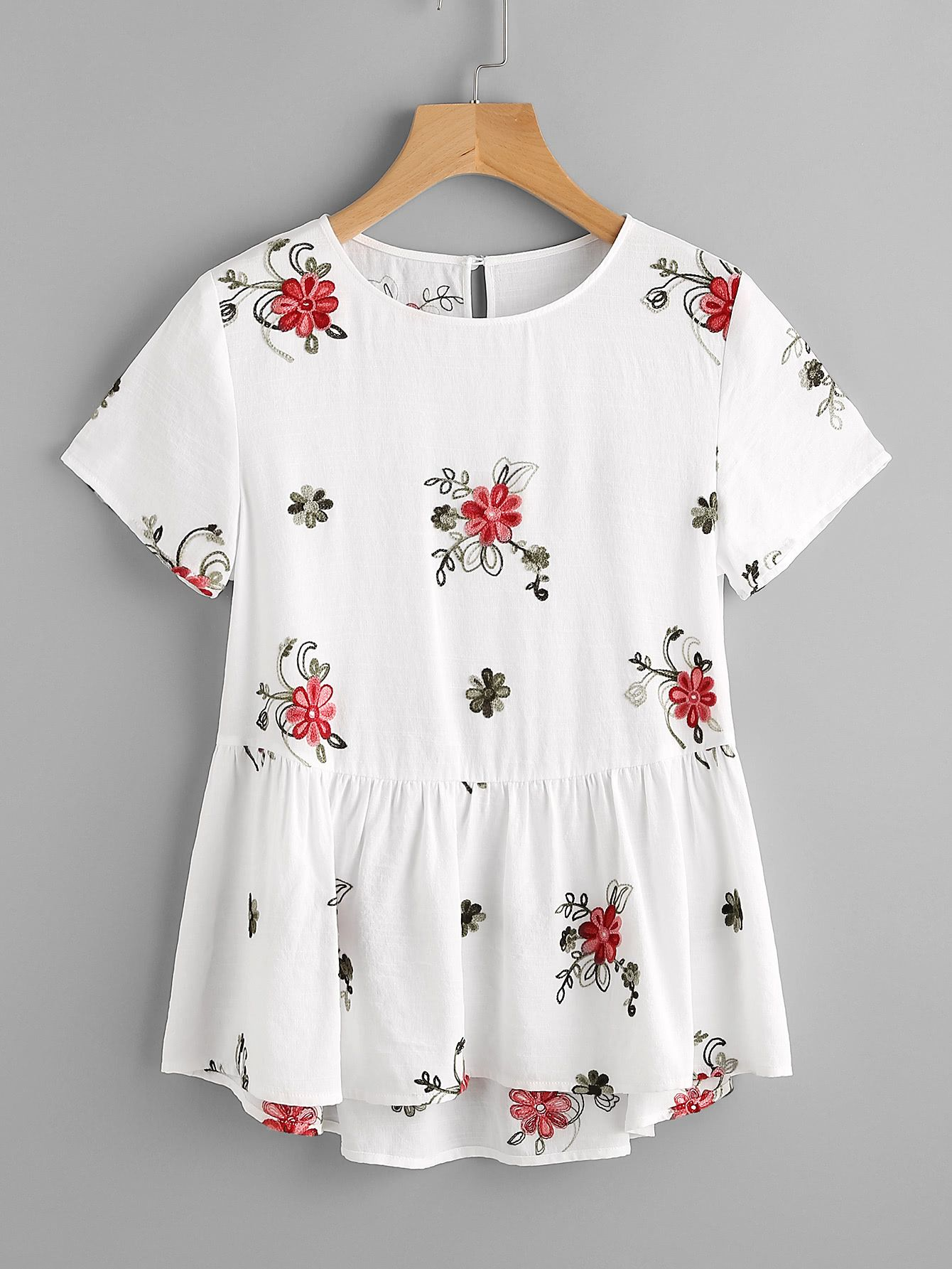 fc30a12625297 Shop Flower Embroidered Keyhole Back Smock Top online. SheIn offers Flower  Embroidered Keyhole Back Smock Top   more to fit your fashionable needs.