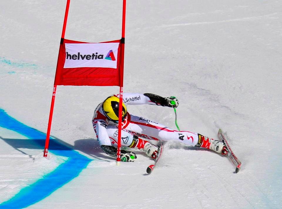 Marcel Hirscher shows that even the best skier sometimes uses the inside ski (and is happy to wear a helmet).
